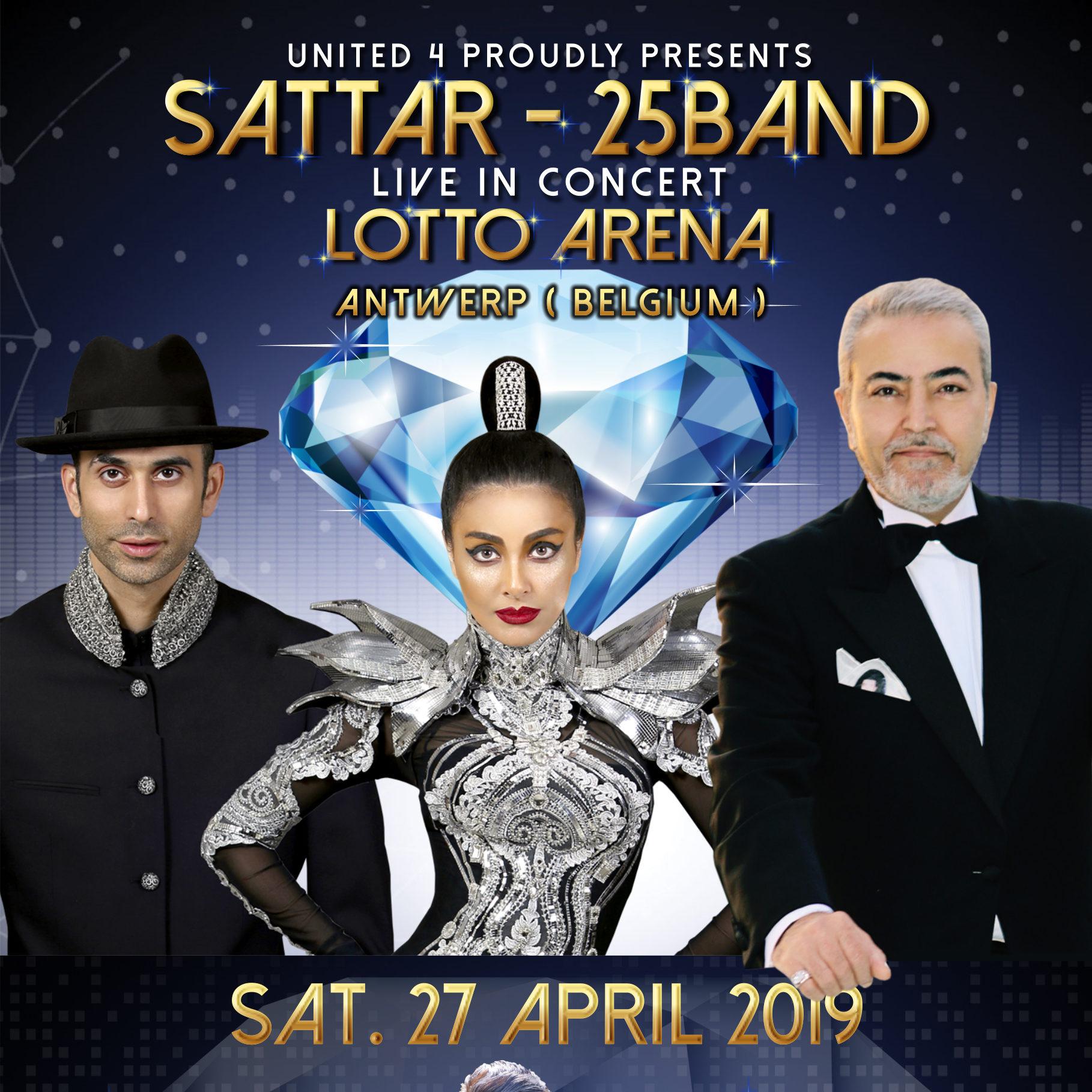 affiche d'un concert iranien en Belgique, à Anvers, avec 25 Band, Sattar